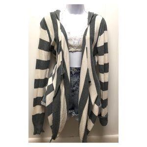 Express   Knit Flowy Cardigan W Hoodie Soft & Warm